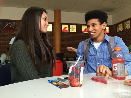 Kaelin Willette and Nua Toy-Giles share a laugh over lunch