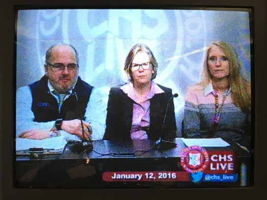 CHS administrators discuss the recent trashcan fire on CHS Live