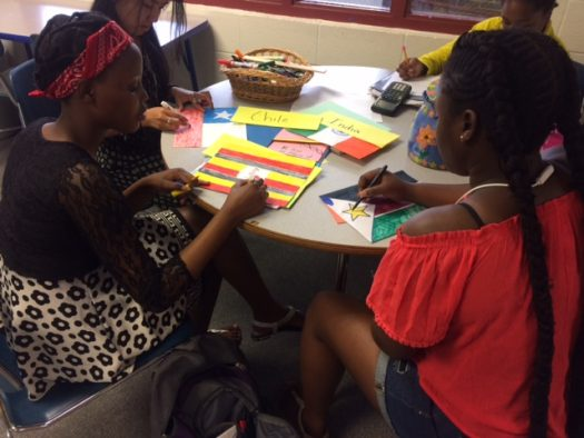 Students make flags that will decorate Main Street
