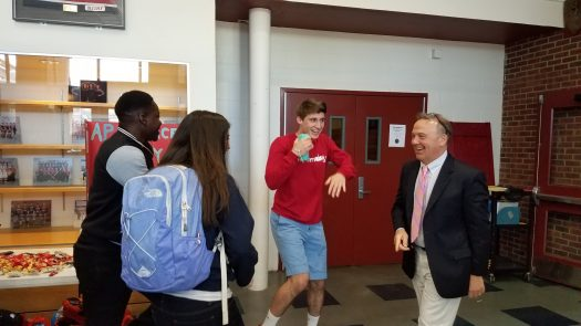 Principal Tom Sica joined an impromptu dance party
