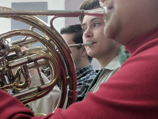 CHS band students practice during first period recently