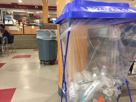 One of the recycling bins in the student center