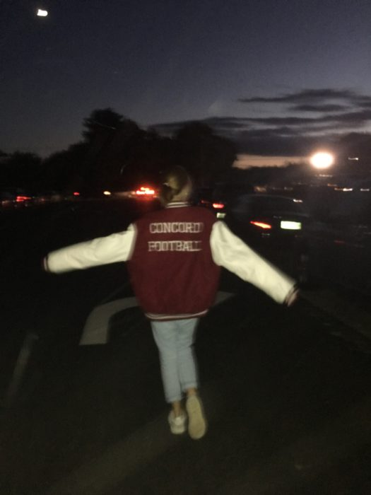 Maggie Connolly sports her oldest brother's varsity jacket