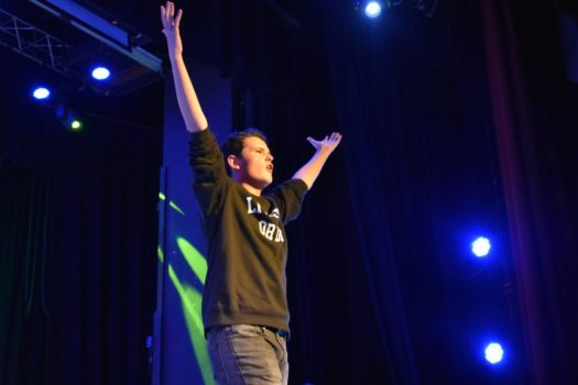 Senior David Milliken shines under the bright lights during CHS Idol