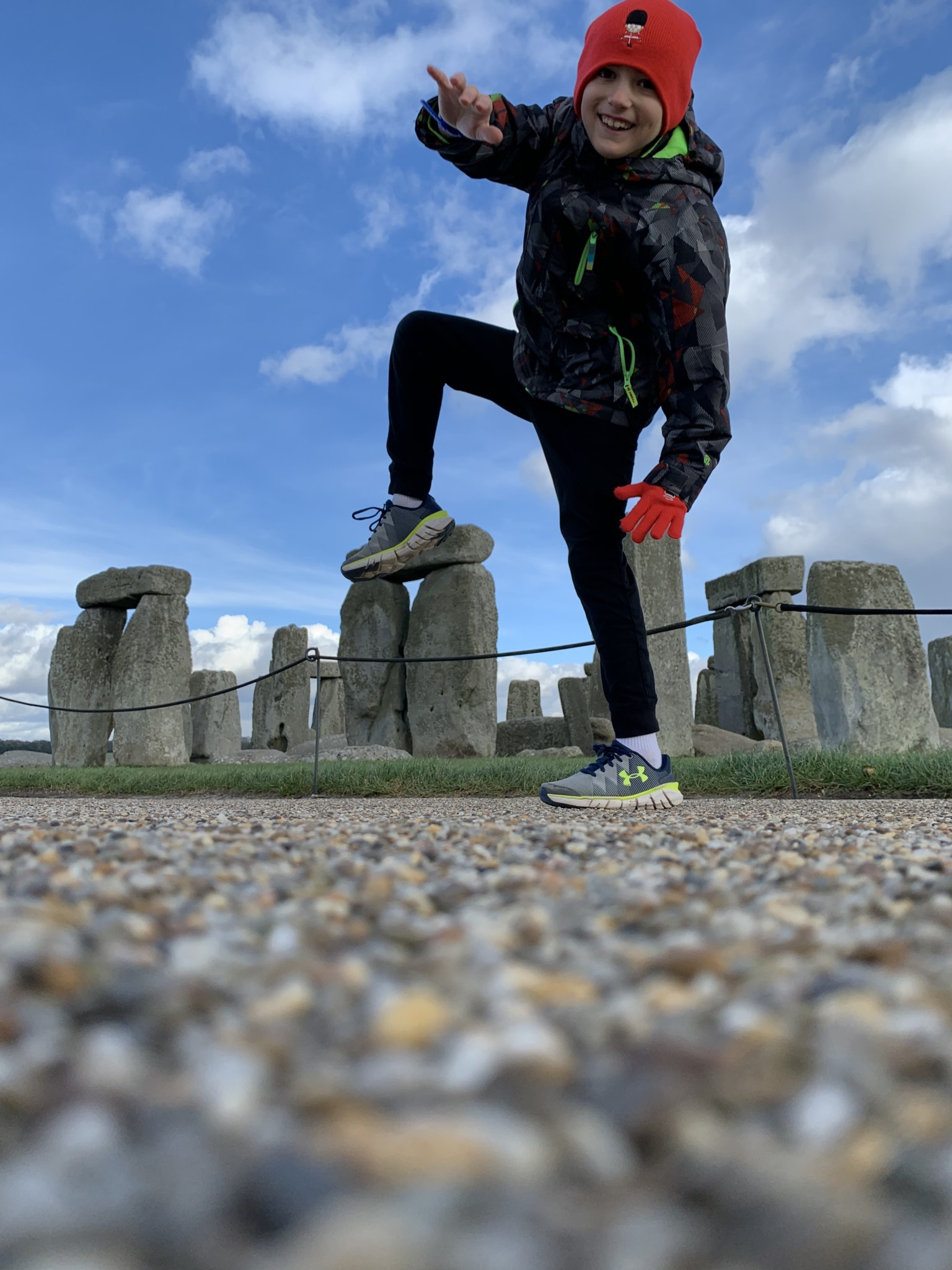 Ethan Pollack appears to step on Stonehenge