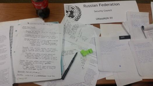 Russian double delegation desk.