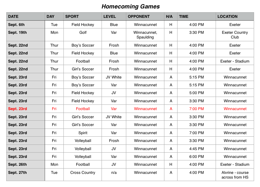 The full schedule of homecoming games