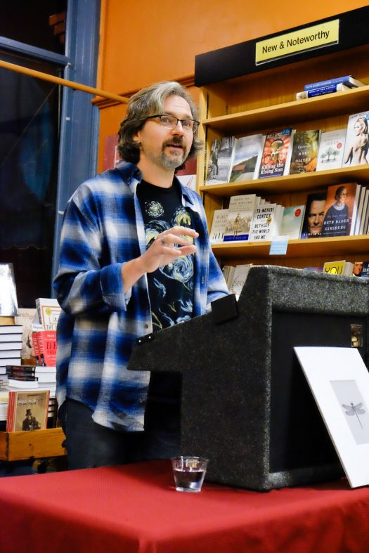 Douglas Wynne speaking at the Water Street Bookstore