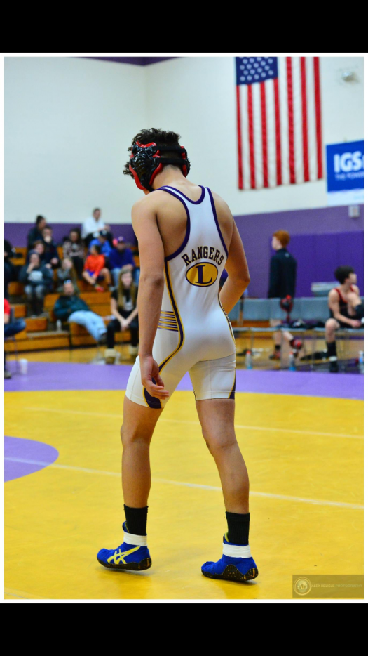 Sami Alnajjar all geared up for wrestling.
