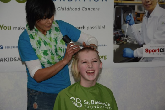 LHS student Ella Chanter braves the shave.