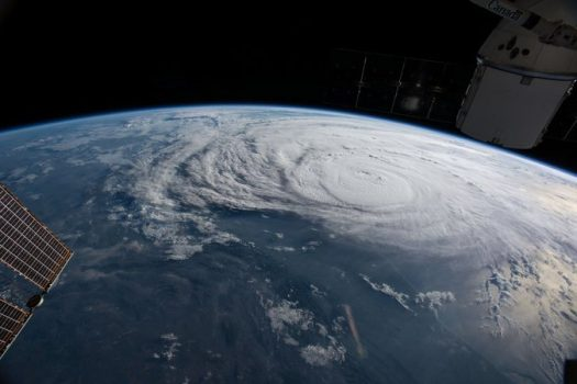A view of Hurricane Harvey from outer space on Friday, August 25.
