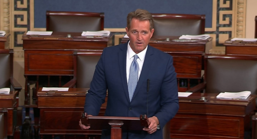 Flake's speech had drawn both praise and criticism