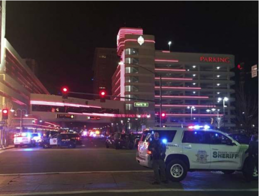 Police respond to an active shooter at a high-rise building of luxury condominiums in Reno, Nev.