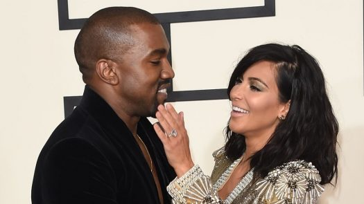 Kanye West and Kim Kardashian at 57th Annual Grammy Awards.