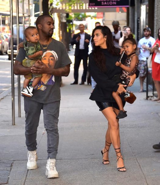 Kim and Kanye West with their son Saint and daughter North.