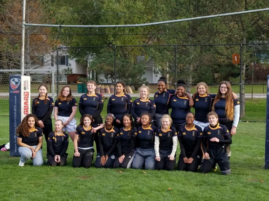 The Lakewood fall sevens team poses together after winning the championship in their division.