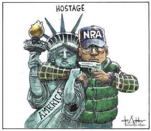 A political cartoon depicting the relationship between the NRA and the United States.