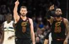 Kevin Love and LeBron James excited over points made