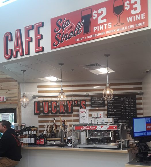 Lucky's isn't a typical grocery store- inside, there's a cafe, sushi & ramen bar, kitchen and more!
