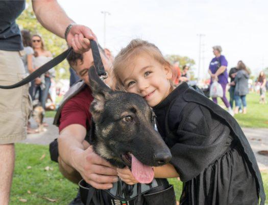 Lakewood resident enjoying Fall with her favorite dog.