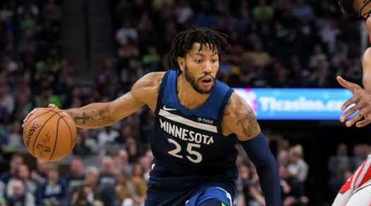 Derrick Rose playing for the Timberwoles
