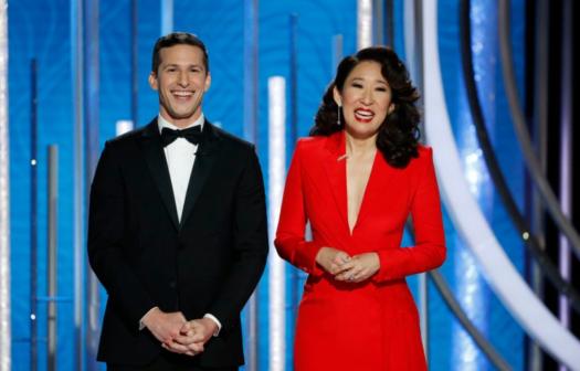 2019 Golden Globe Hosts: Andy Samberg (left), and Sandra Oh (right)