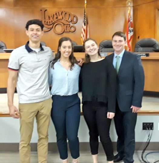 Hueter, Lane, Gill, and Councilman Sam O'Leary