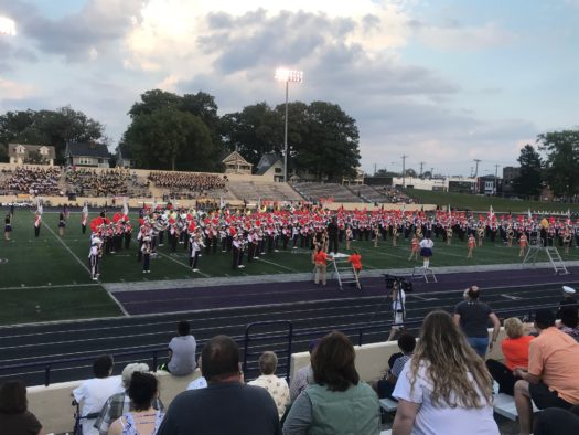 The LHS Ranger Marching Band joined by the Bowling Green University Marching Band