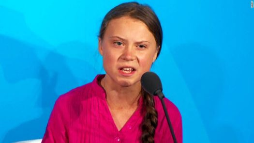 Greta delivering her talk at the UN Climate Action Summit.