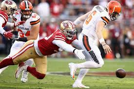 Mayfield fumbles the ball