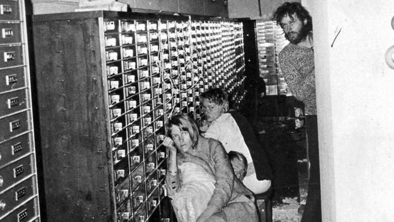 Hostages in the Kreditbanken Bank in Stockholm, Sweden.