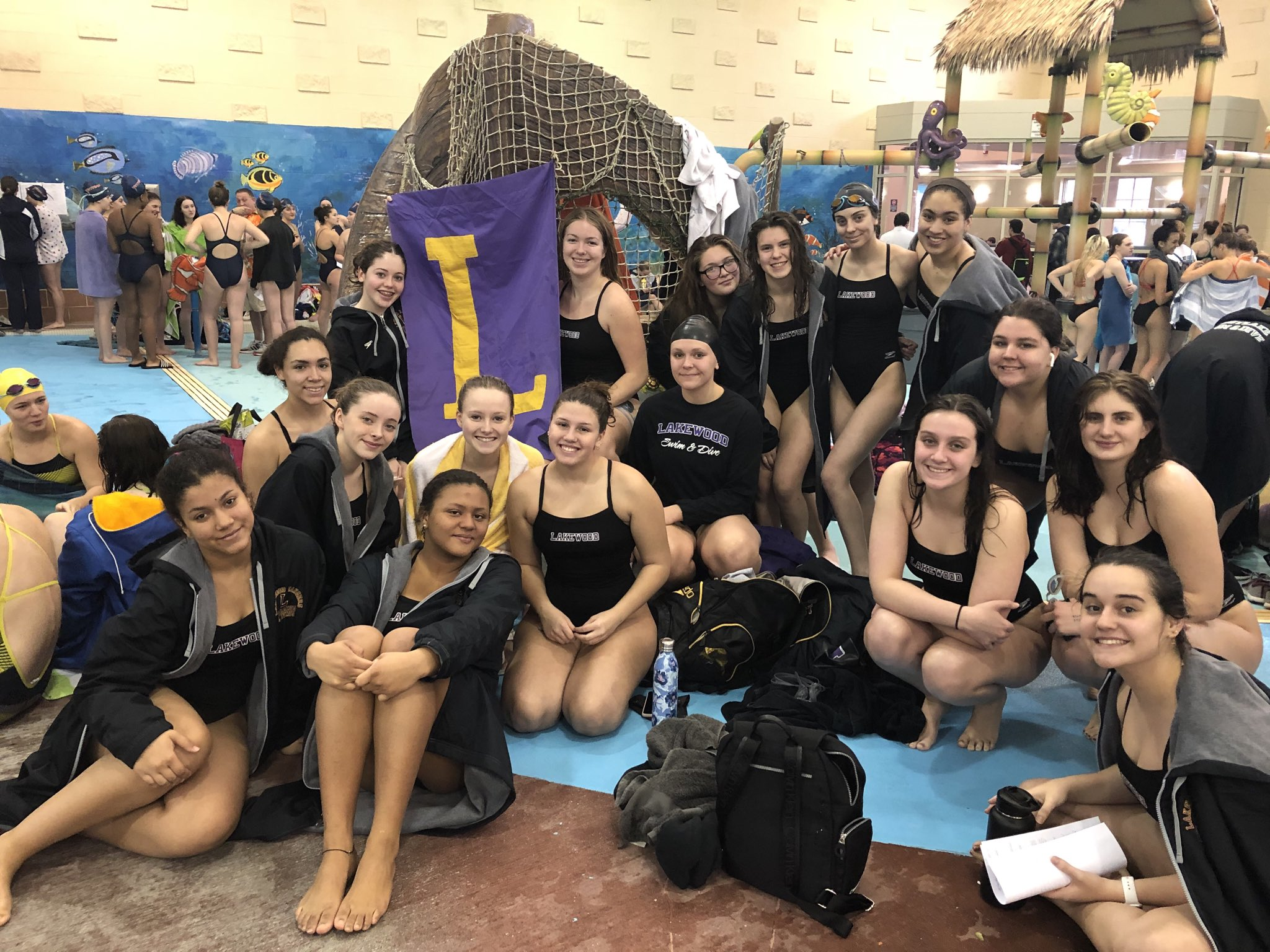 Girls varsity swimming stops for a flick at Westlake Rec Center