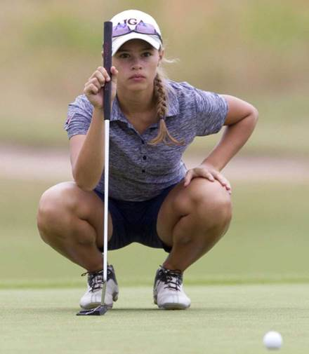 Sinz focuses intently on performing her best in the state tournament.