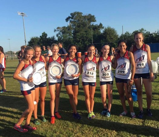 Cross Country Girls poses for a photo after the Cy-Woods XC Invite.