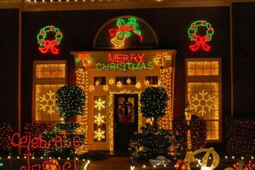 Christmas lights decorate Katy Texas