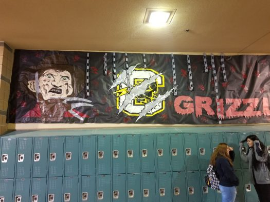 Decorations line the halls in preparation for the school's first haunted homecoming.
