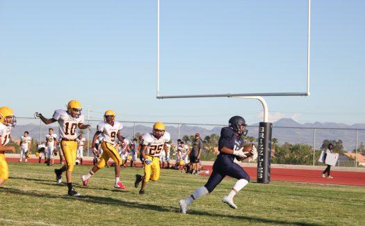 Freshman running back Diego Maldonado runs in a touchdown against the Bonanza Bengals.