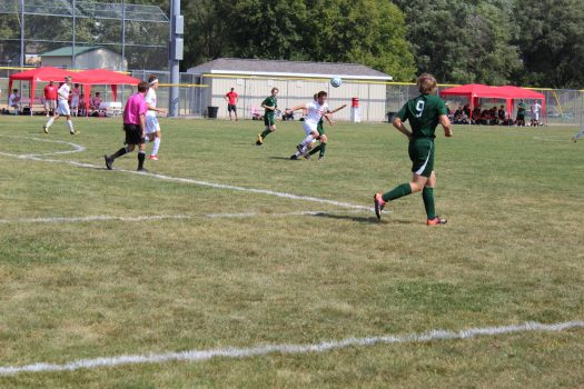 Lundy chases the ball in game two of the Ottawa Varsity Soccer Invite on September 16.