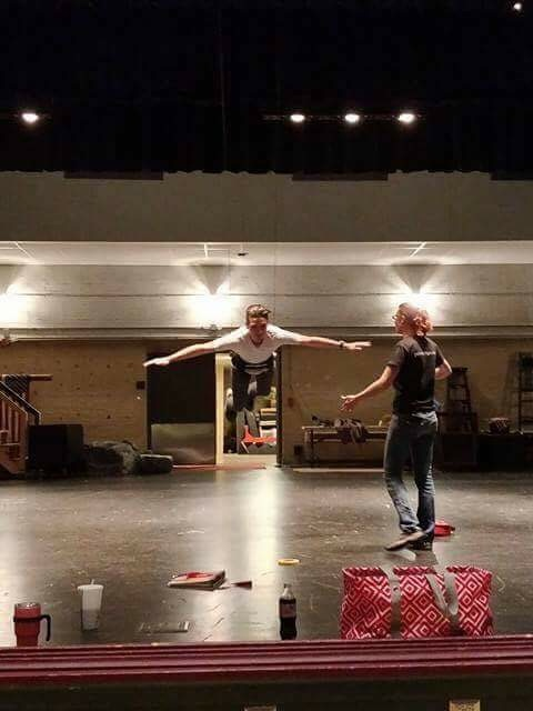 Sophomore Logan Andreoni  learns to fly at a play rehearsal in October.