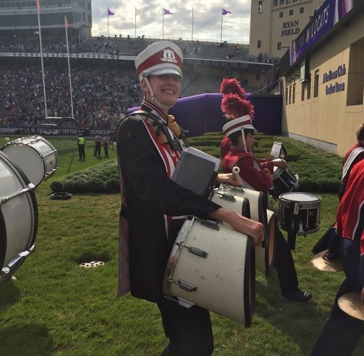 Norsen enjoys his fourth and final Band Day at Northwestern.