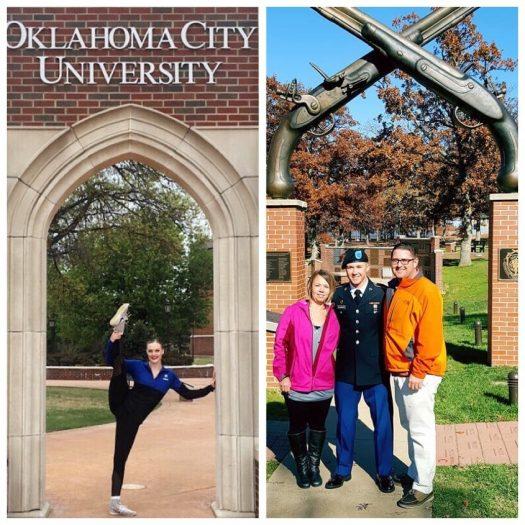 Alderman and Kleckner pose under famous arches at Oklahoma City University and Fort Leonard Univ.