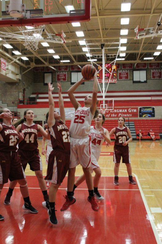 Junior Antonia Edwards-Froisland goes up for a shot at a game against Morris last season.