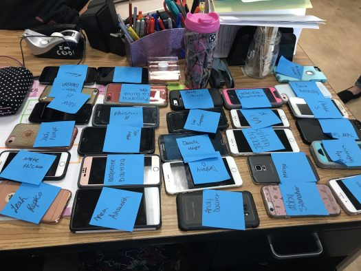 All the phones that students turned in to English 3 teachers Karra Badakhshanian and Jaclyn Quinn.