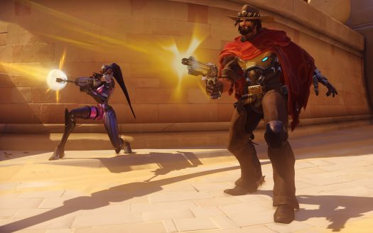 Widowmaker (left) and McCree (right) fire off shots at the enemy.