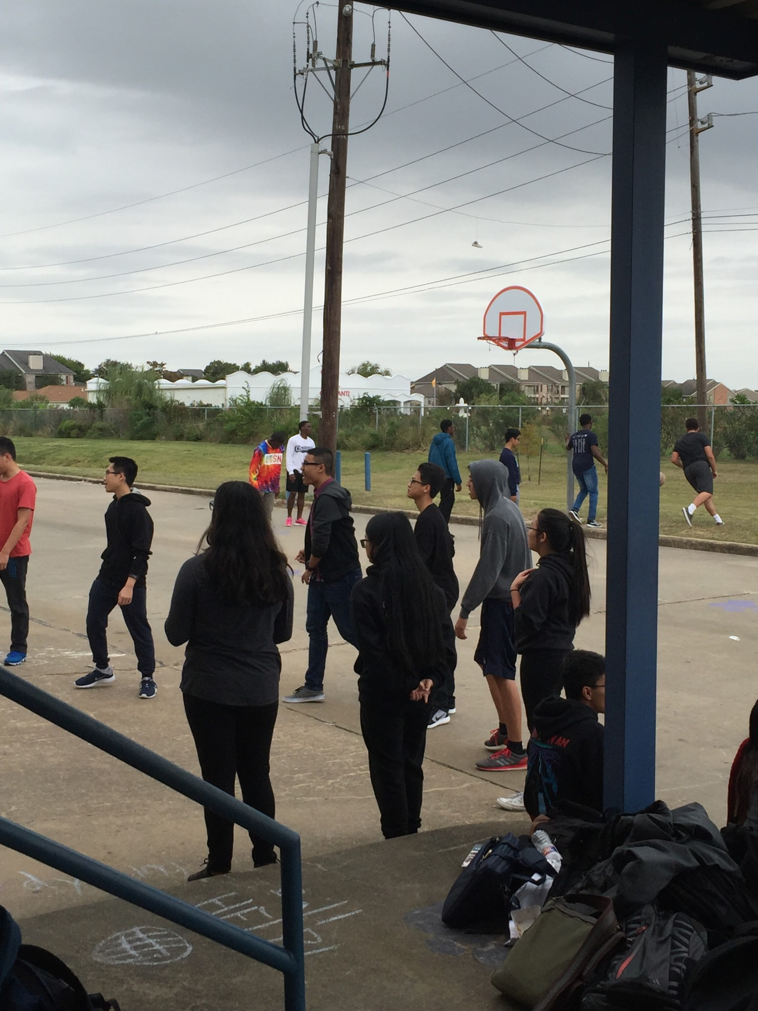 Students during A lunch play basketball and volleyball in their social groups. Several other sports are played outside during lunch.