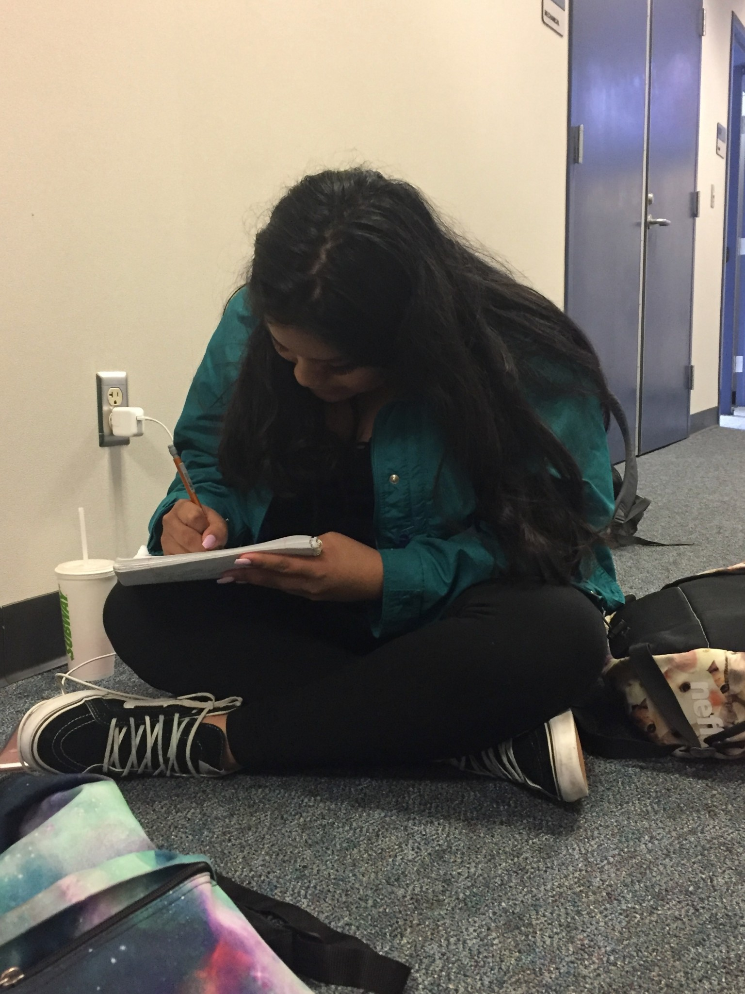 Senior, Ruth Bernardino, was upstairs in the Science hallway working on her Math PAK.