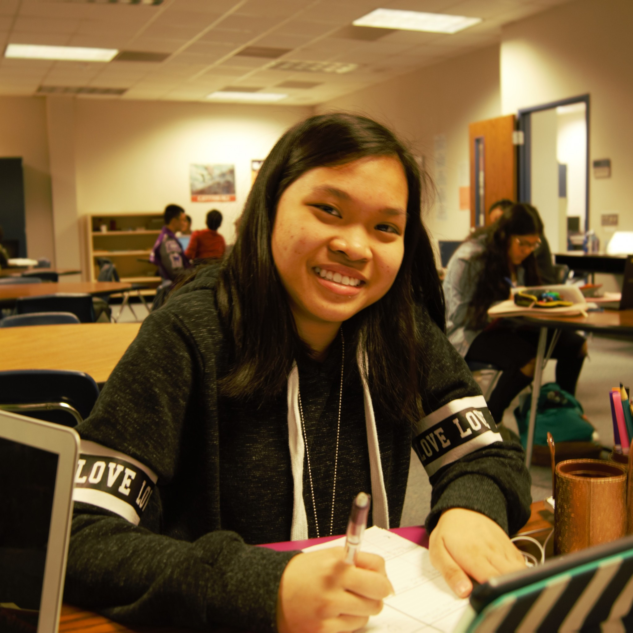 "Vy Tran (Freshmen) says that her reason for waking up in the morning is because, ""I wake up every morning to see my friends and my family, because I don't think I'd be the person I am right now without them supporting me... and not being lonely."""