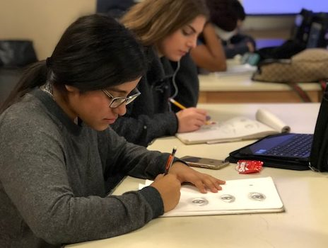 Vaneza Dominguez works on her sketching skills during art class.