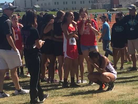 Senior Daniela Reyes gets ready to run at regionals.