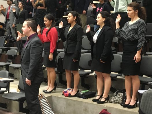 Buffalo students take the oath of office before competing in regional congress.